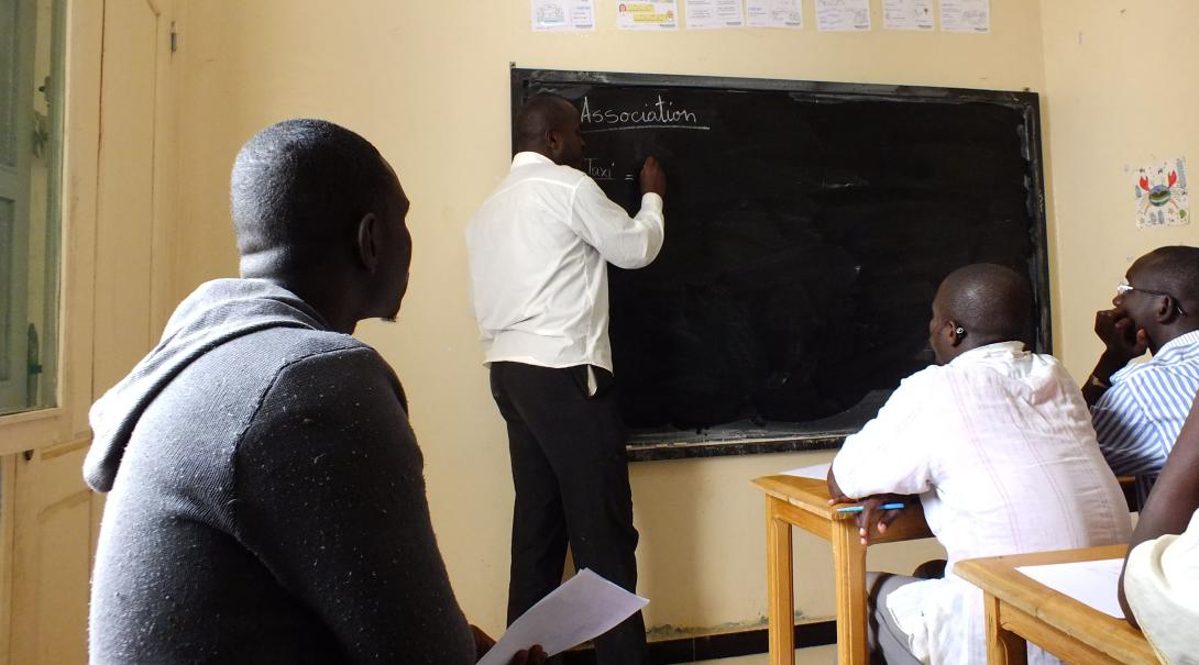 Volunteers receive language lessons at a local language centre by going through some basic associations